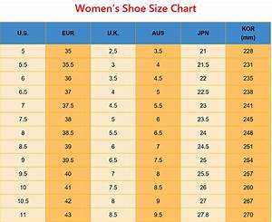 Women 39 S Shoe Size Conversion Chart For Us Eur Uk Aus Jp