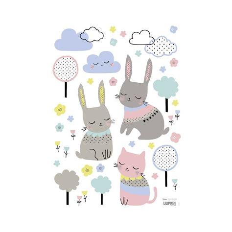 stickers lapin chambre bébé stickers bébé lapin et nuages lilipinso