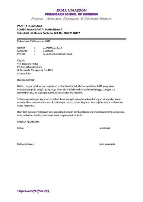 Surat Permohonan Sponsor by 8 Contoh Surat Permohonan Bantuan Terlengkap