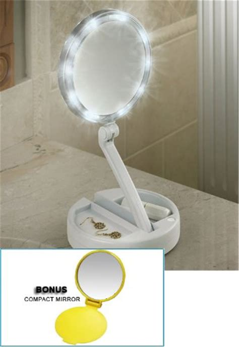 portable makeup mirror with lights lighted bright leds foldaway portable vanity mirror 12x