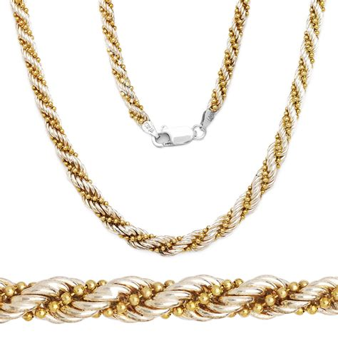 sterling silver  yellow gold twist rope bead link