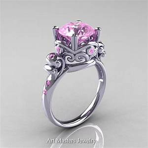 modern vintage 14k white gold 25 carat light pink With light pink wedding rings