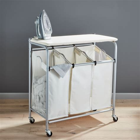 Triple Laundry Sorter with Ironing Board   Reviews   Crate