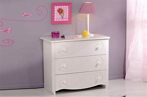 Commode Chambre Fille : commode de chambre fille 3 tiroirs blanc brillant pour commode ~ Teatrodelosmanantiales.com Idées de Décoration