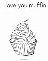 Coloring Muffin Cupcake Template Outline Pages Tracing Twistynoodle Whimsical sketch template