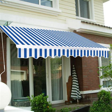outdoor manual retractable patio awning ft  ft blue white walmartcom walmartcom