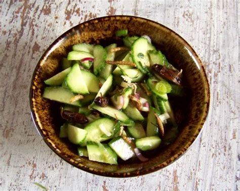 cuisiner les insectes recettes d 39 insectes salade de concombre aux grillons et