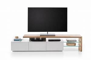 Meuble Tv Bois Design : meuble tv design bois et blanc novomeuble ~ Preciouscoupons.com Idées de Décoration