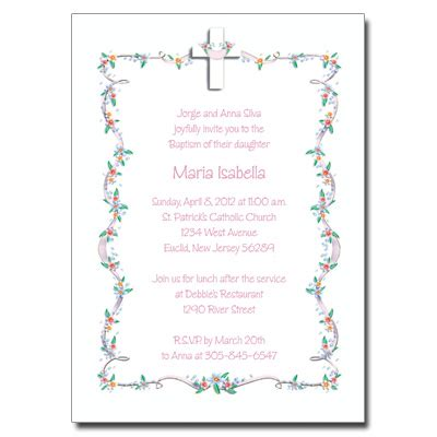 Cross with Flowered Border Invitation (Click to enlarge)