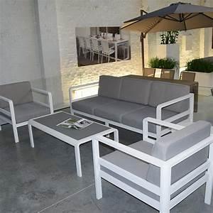 Salon Aluminium De Jardin : salon de jardin 5 places en aluminium icon ~ Edinachiropracticcenter.com Idées de Décoration