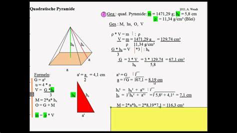 quadratische pyramide  aufgaben mit loesungen youtube