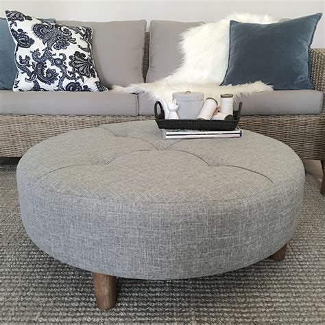 This solid wood creation is more table than storage ottoman coffee table with reversible tray tops: Large 90cm Grey Round Ottoman/Coffee Table/Tufted/Hampton's/French Provincial