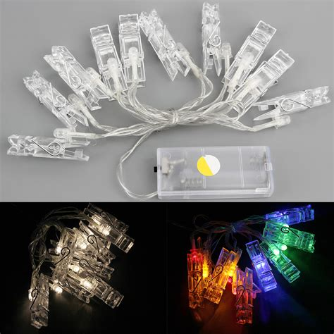 20 led card photo clip string lights battery christmas