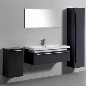 Meuble Gris Laqué : ensemble complet meuble de salle de bain rio 1 vasque 1 miroir gris laqu distriartisan ~ Nature-et-papiers.com Idées de Décoration