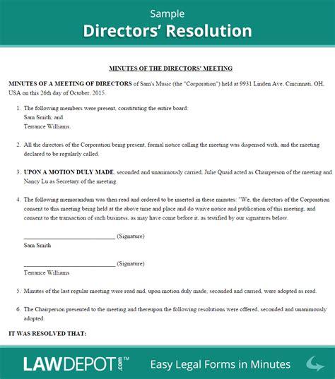 company resolution form directors resolution form free board resolution