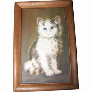 dimensional small framed kitty cat wall art treasures With cat wall art