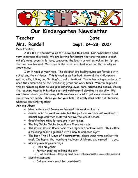sample welcome to kindergarten letters our kindergarten 771 | ed22ee4949860a8e86b82eddcb90761f