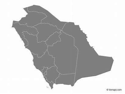 Saudi Map Arabia Grey Regions Ksa Maps