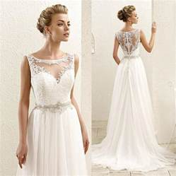 illusion neckline bridesmaid dress 2016 new sleeveless lace illusion neckline plus size chiffon wedding dresses lace bridal gowns