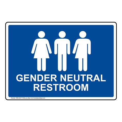 Gender Neutral Restroom Sign Rre25317whtonblu Restrooms