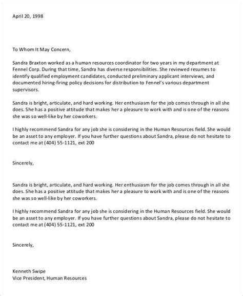 letter of recommendation for coworker 11 coworker recommendation letter templates pdf doc free