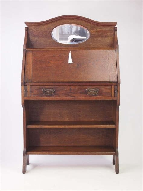 hallway bureau slim edwardian arts crafts oak bureau