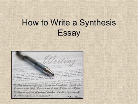 How To Write A how to write a synthesis essay