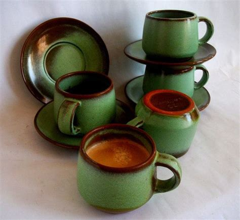 Specifications are approximate because although we do our. Vintage Frankoma Coffee/Esspresso Cups and Saucers in Prairie Green | Cup and saucer, Vintage ...
