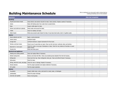 building maintenance schedule excel template building