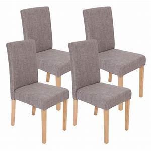 Chaise En Tissu Gris : lot de 4 chaises de salle manger en tissu gris pieds clairs cds04118 d coshop26 ~ Teatrodelosmanantiales.com Idées de Décoration