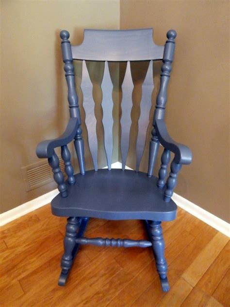 refinished blue rocking chair by rootswingsfurniture on