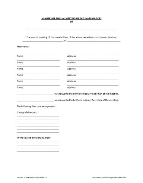 Annual Corporate Minutes Template Free Annual Corporate Minutes Template Word Board Meeting