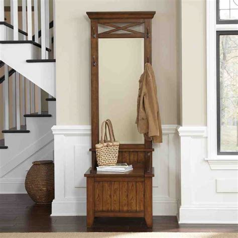 Hall Tree Storage Bench With Mirror  Home Furniture Design