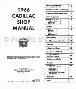 1966 Cadillac Repair Shop Manual Reprint