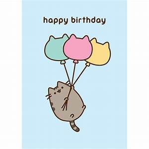 Pusheen Happy Birthday Balloons card — MeowCo