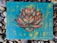 artwork for home Flower Art Canvas, Bright Drawing, Lotus Artwork, Home Wall Art, Bright Orange Blue, Original ...