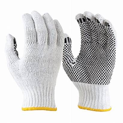 Gloves Cotton Knitted Poly Pvc Dotted Dots