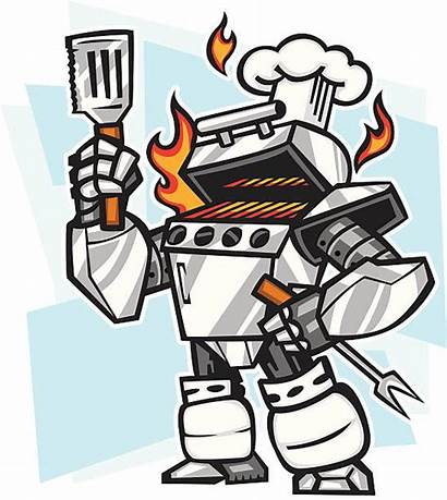 Grill Robot Gas Illustrations Cartoon Cooking Fire