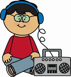 Kid Listening to Boombox Clip Art - Kid Listening to ...