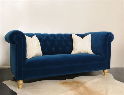 Tufted Velvet Sofa Blue by Custom Cobalt Blue Velvet Tufted Sofa Yelp