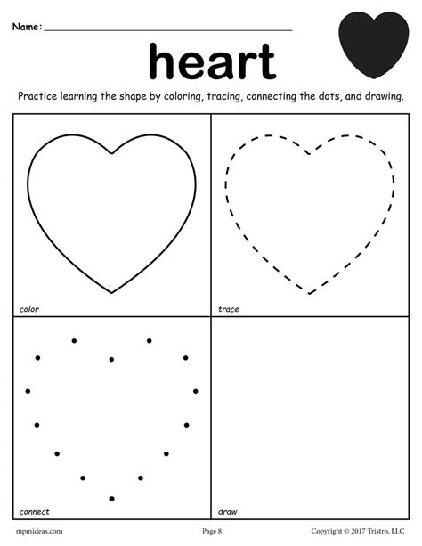 Free Heart Worksheet  Color, Trace, Connect, & Draw! Supplyme