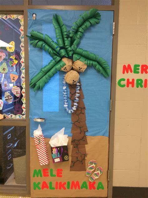 hawaiian designer christmas ornaments decorated maia s classroom door this year ses door