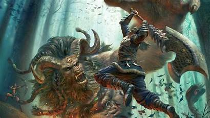 Epic Warrior Fantasy Fighting Beast Wallpapers Wallpapersafari