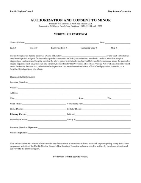 18579 release form for child treatment release form free printable documents