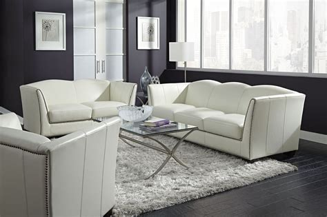 White Leather Living Room : Manlyn White Leather Living Room Set From Lazzaro (wh-1327
