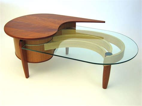 Elegant Curved Glass Coffee Table  House Photos
