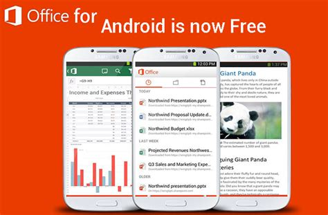 microsoft office android microsoft office mobile now free on android and ipads