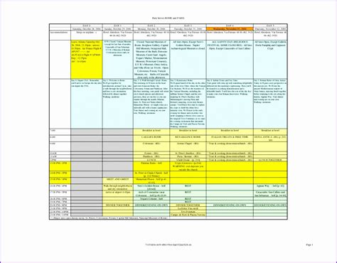 travel schedule template excel exceltemplates