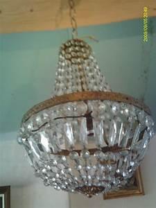 Lustre à Pampilles : ancien lustre pampille montgolfiere cage cristal verre ~ Teatrodelosmanantiales.com Idées de Décoration