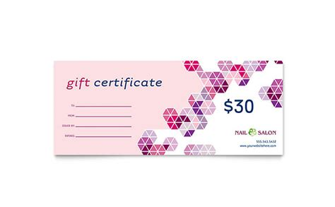 nail salon gift certificate template word publisher